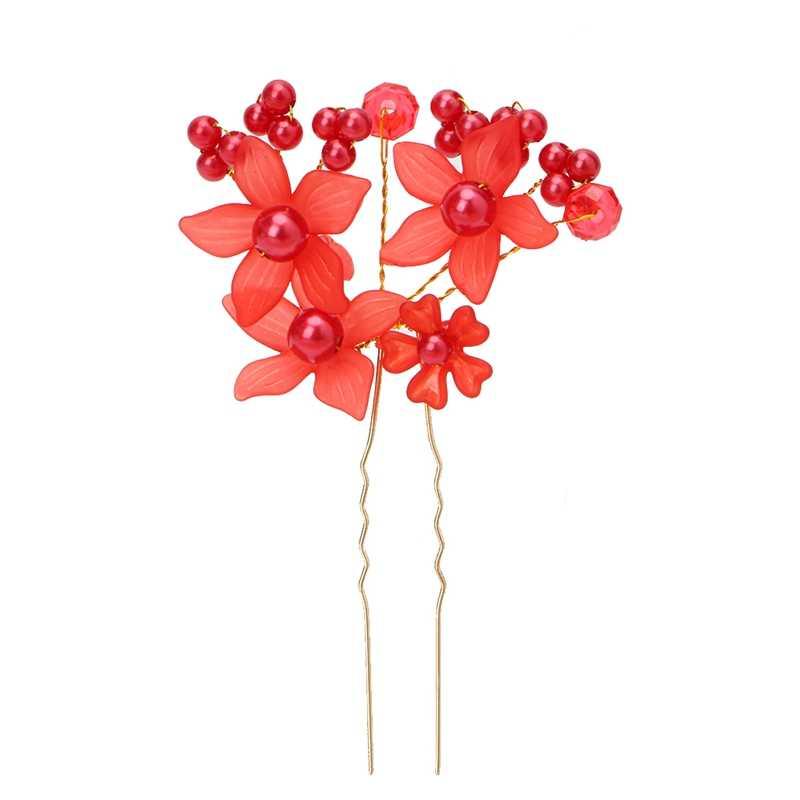 Casamento noiva strass flor pérola pinos de cabelo clip cabeça hairpin acessórios