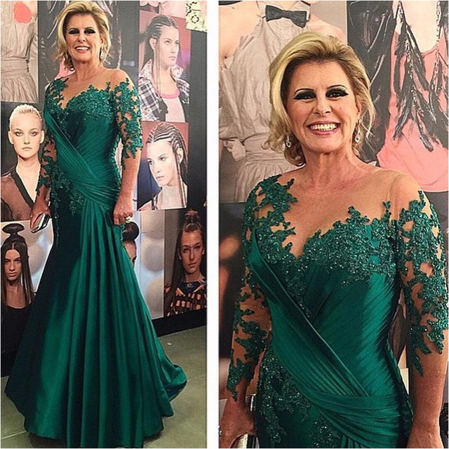 Green Mother Of The Bride Dresses Mermaid 3/4 Sleeves Appliques Beaded Plus Size Long Groom Mother Dresses For Weddings
