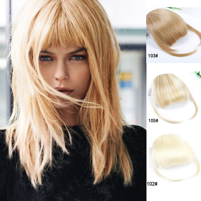 Short Front Blunt Bangs Clip In Bang Fringe Hair Extensions Straight Synthetic 100% Real Natural Fake Hairpiece For Women 2style