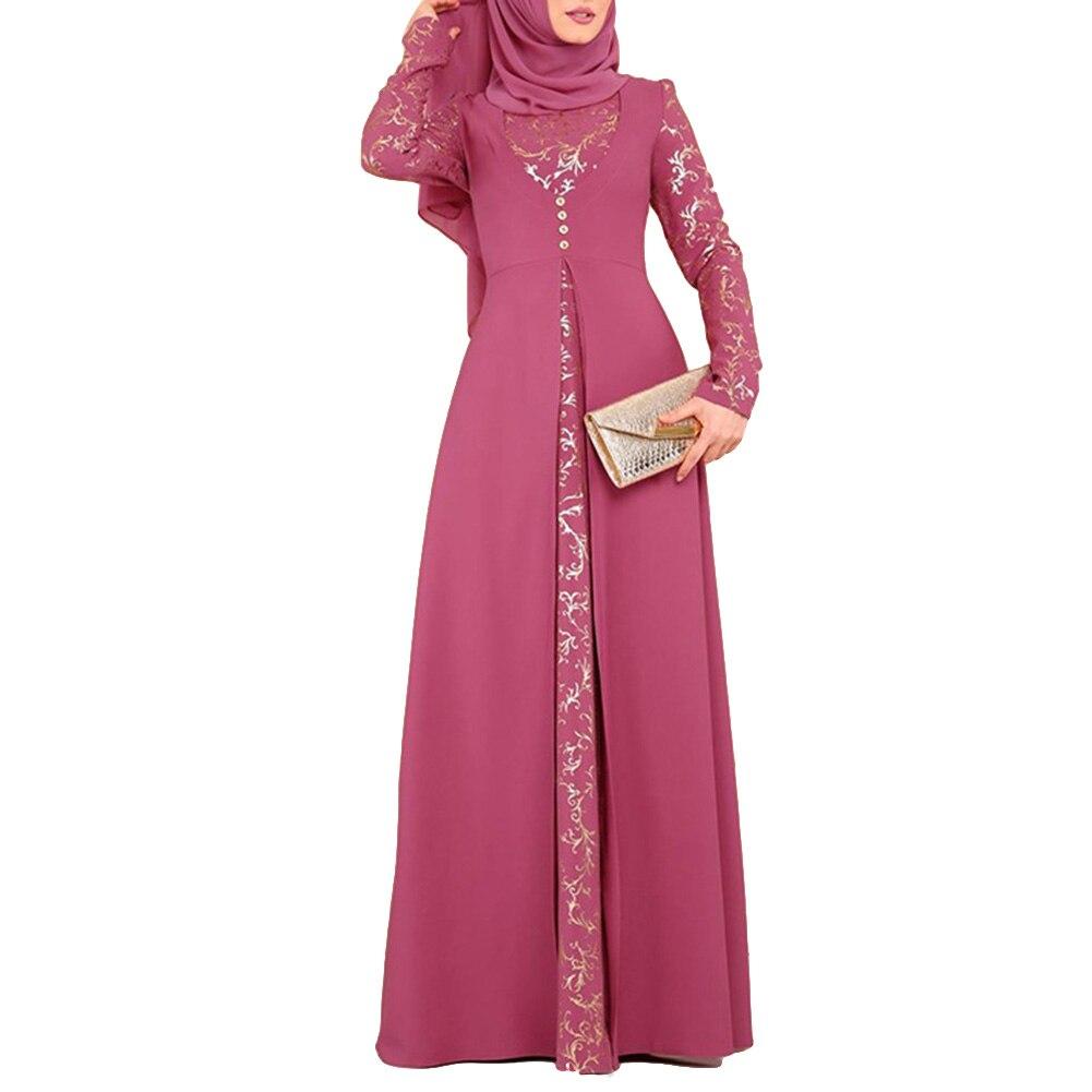 Hot DealsMaxi-Dress Kaftan Arab Long-Sleeve Muslim Floral-Pattern Without-Hijab Women Hot-Stamping