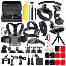 Completo 50 em 1 kit de acessórios de câmera de ação para gopro hero 2018 gopro hero6 5 4 3 estojo de transporte/cinta de peito/polvo tripé