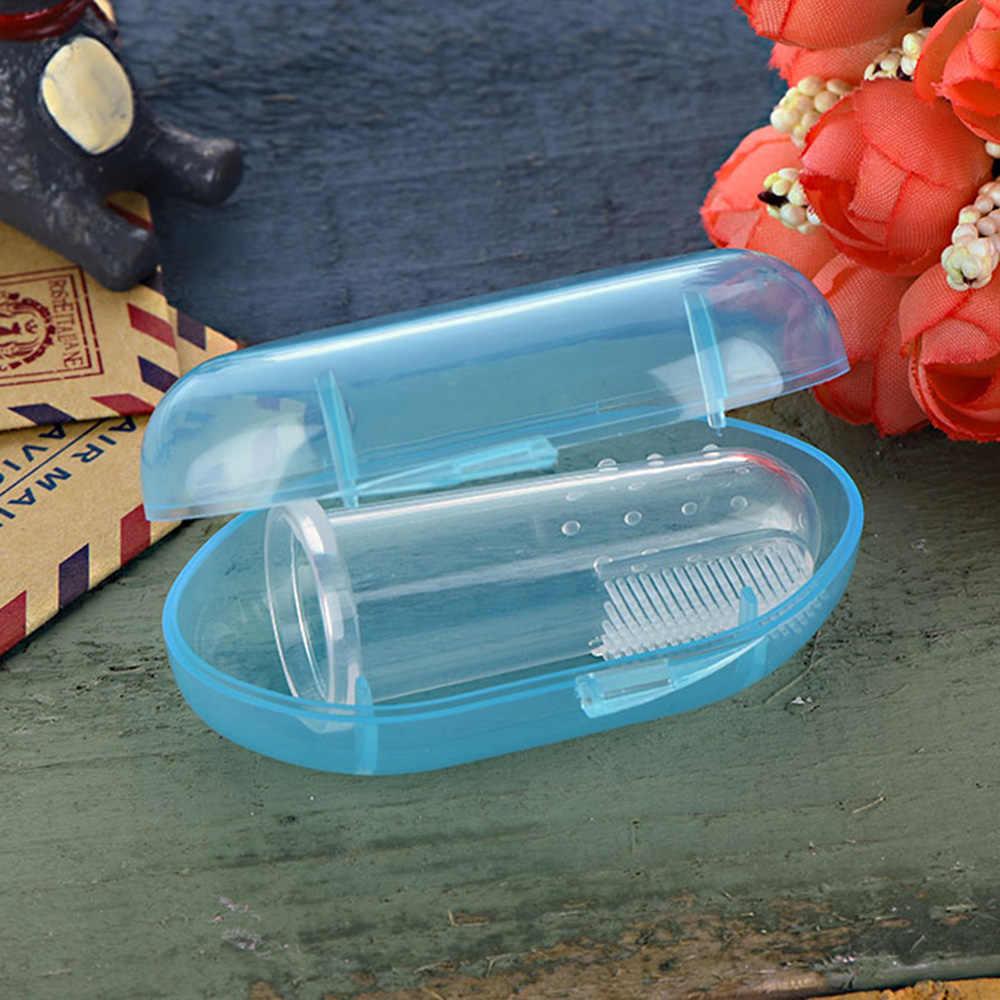 لطيف الطفل فنجر فرشاة الأسنان مع صندوق الأطفال الأسنان واضح تدليك لينة سيليكون الرضع المطاط تنظيف فرشاة الرضع مدلك مجموعة