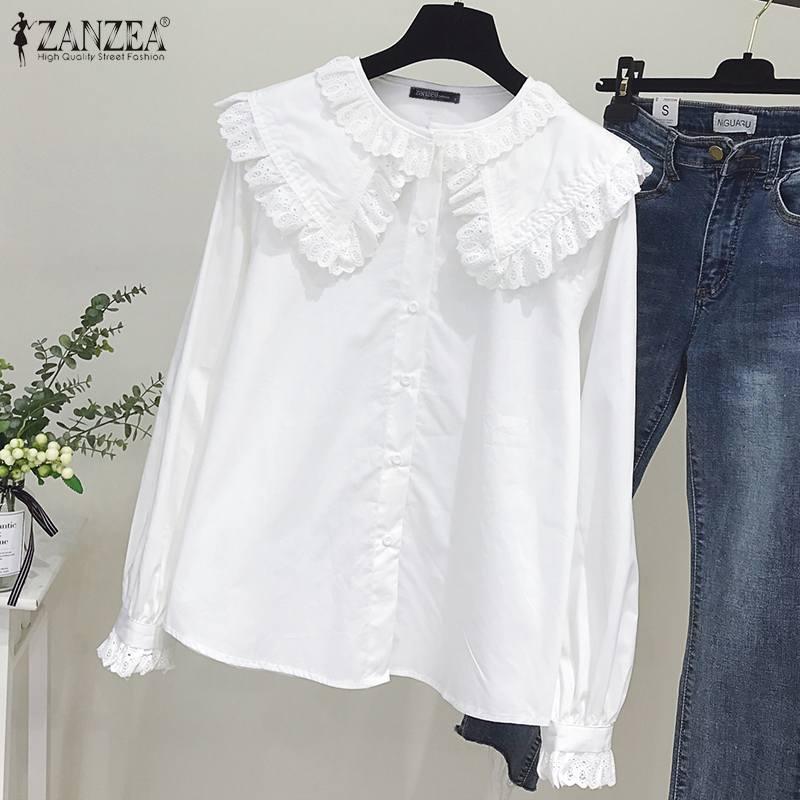 ZANZEA Spring Elegant Lace Crochet Ruffles Shirts Women Blouse Female Long Sleeve Buttons Tops Vintage Solid Work Blusas 5XL