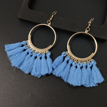 Women's earrings European and American explosions silk tassel earrings Bohemian big circle geometric earrings ladies jewelry 1