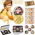 Chinesische Kungfu-star Bruce Lee Gold Gedenkmünzen Set Phantasie Goldfolie Banknote Papier Geld Replik Geburtstag Geschenke für Jungen
