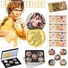 Chinês kungfu estrela bruce lee ouro moedas comemorativas definir fantasia folha de ouro notas papel dinheiro réplica aniversário presentes para meninos