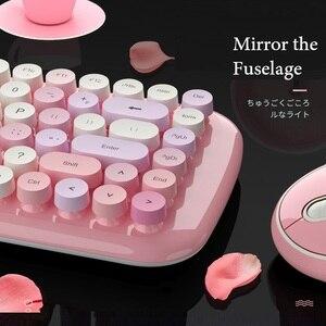 Image 5 - Беспроводная клавиатура, набор для мыши, для ноутбука, бесплатный коврик для мыши, коврик для мыши, 1600DPI, беспроводная мышь, ретро, панк, цветная, 84 круглые клавиши, клавиатура