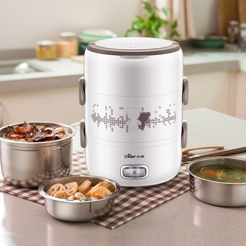 Boîte à déjeuner électrique 2L grande capacité Portable trois couches cuiseur à riz boîte à riz en acier inoxydable cuisson frais travail - 2