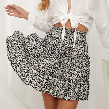 Jocoo Jolee Sexy High Waist Ruffles Skirt for Women Floral Print Beach A Line Skirt Cotton Beach Short Pleated Skirt Plus Size 2