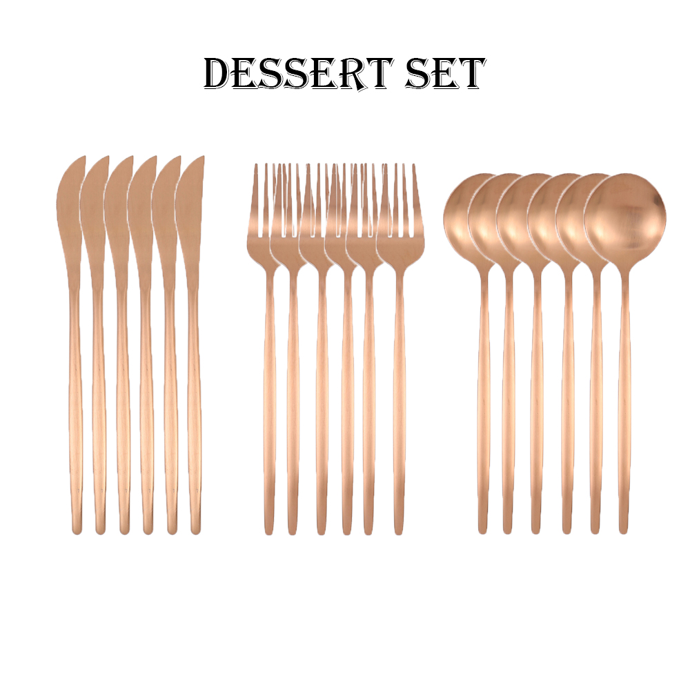 18pcs Matte Rose Gold Stainless Steel Dessert Set Forks Knives Spoon Cutlery Flatware Drink Ice Cream Party Cutlery Set