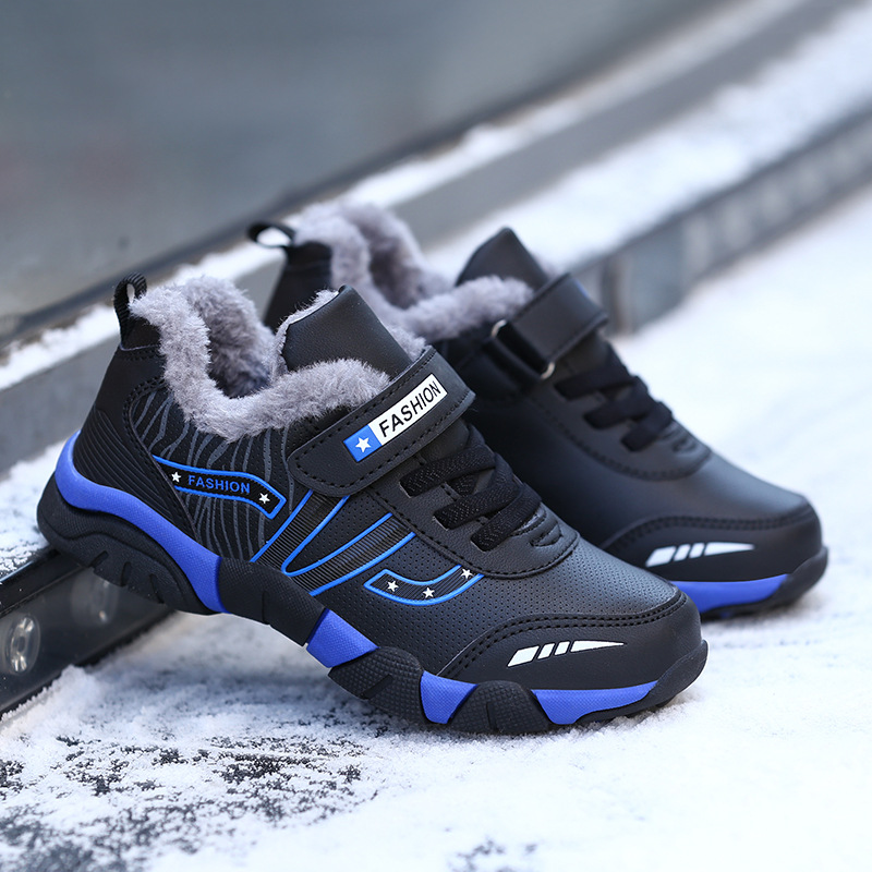 Anne ve Çocuk'ten Tenis Ayakk.'de Çocuk Kış Ayakkabı Erkek Spor Ayakkabı Peluş Sıcak Büyük Çocuklar yürüyüş ayakkabıları Deri Su Geçirmez Açık Eğitmenler Moda spor ayakkabılar title=