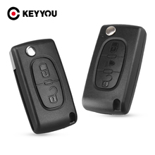 KEYYOU 50pcs Flip Car Key Shell For Peugeot 206 407 307 For Citroen C2 C3 C4 C5 C6 Berlingo Folding Remote Key Case 2/3/4 Button