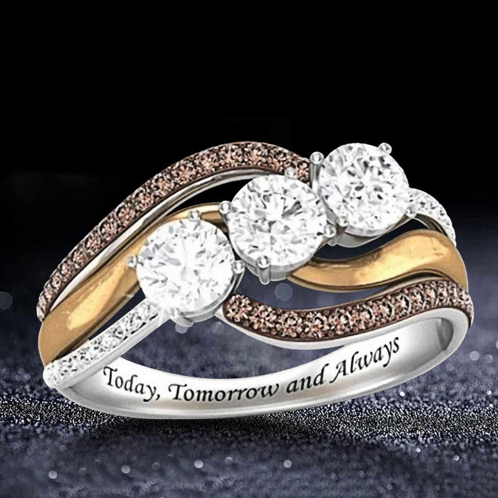 Rose Gold Diamond Ring Natural White Romantic Wedding Jewelry Bague en or rose couleur naturelle bague de bijoux de mariage 3.24