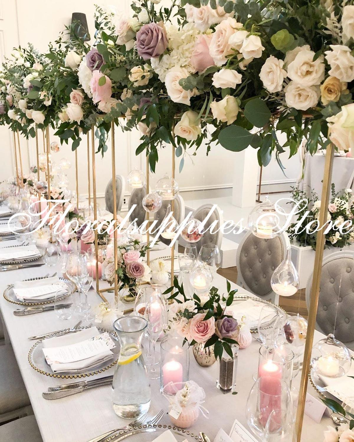 10PCS gold iron flower stand wedding decoration table centerpiece tall vases marriage pillars metal props event party decor