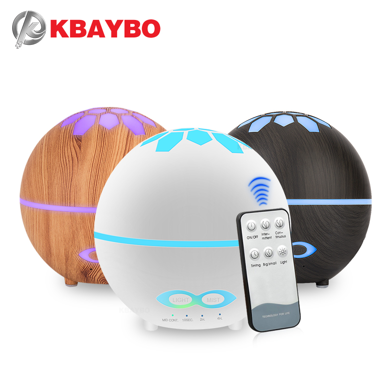 KBAYBO 400ML Ultrasonic Aromatherapy Essential Oil Humidifier With Remote Control Air Purifier With 7 Colors LED Lights