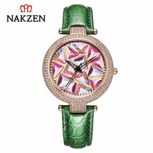 NAKZEN 럭셔리 브랜드 쿼츠 여성 시계 패션 가죽 손목 시계 생활 방수 시계 숙녀 시계 선물 여성 Relojes
