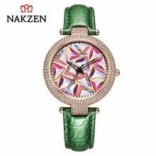 Nakzen marca de luxo quartzo relógios femininos moda couro relógios pulso vida à prova dwaterproof água relógio senhoras presentes para mulher relojes