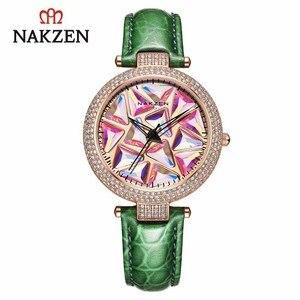 Image 1 - Nakzen 高級ブランド腕時計ファッションレザー腕時計生活防水時計レディース腕時計ギフト女性のための relojes
