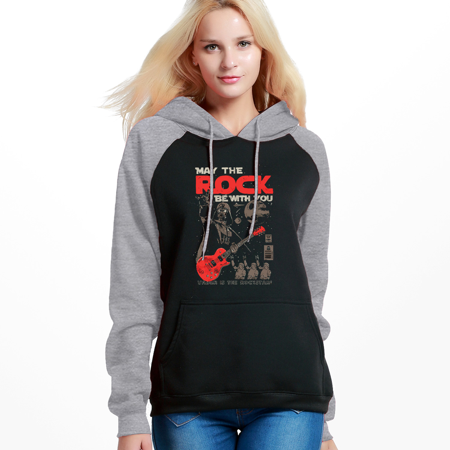 May The Rock Be With You Print Hoodie Women Winter Raglan Pullover Star Wars Hipster Female Sweatshirt Fashion Hot Sell Pullover