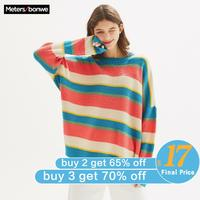 Metersbonwe 2020 New Knitted Sweater Women Pullovers Rainbow Striped Women Sweaters Oversized Loose leisure sweater 633390