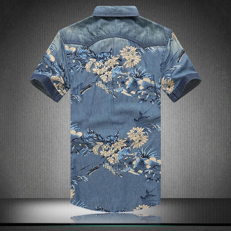 Summer Men Shirts Plus Size Fashion Printing Flower Short Sleeve Jeans Shirt Men Camisa Hombre Casual Cowboy Shirts Ropa Hombre