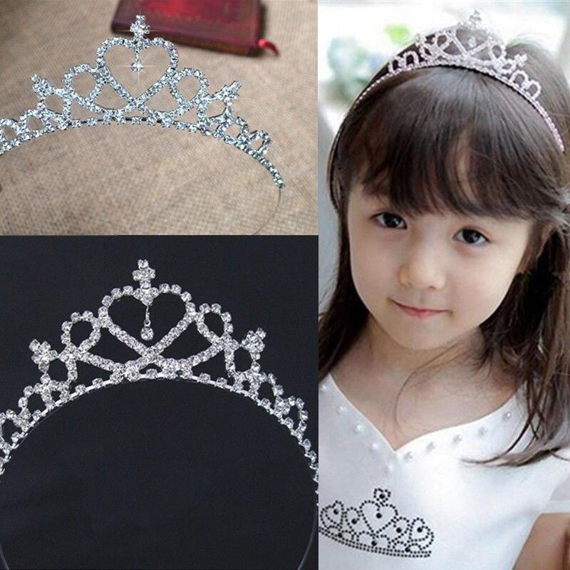 Ободки для волос с хрустальной короной и стразами для детей, девочек, ободок, повязка на голову, свадебные диадемы, аксессуары для волос