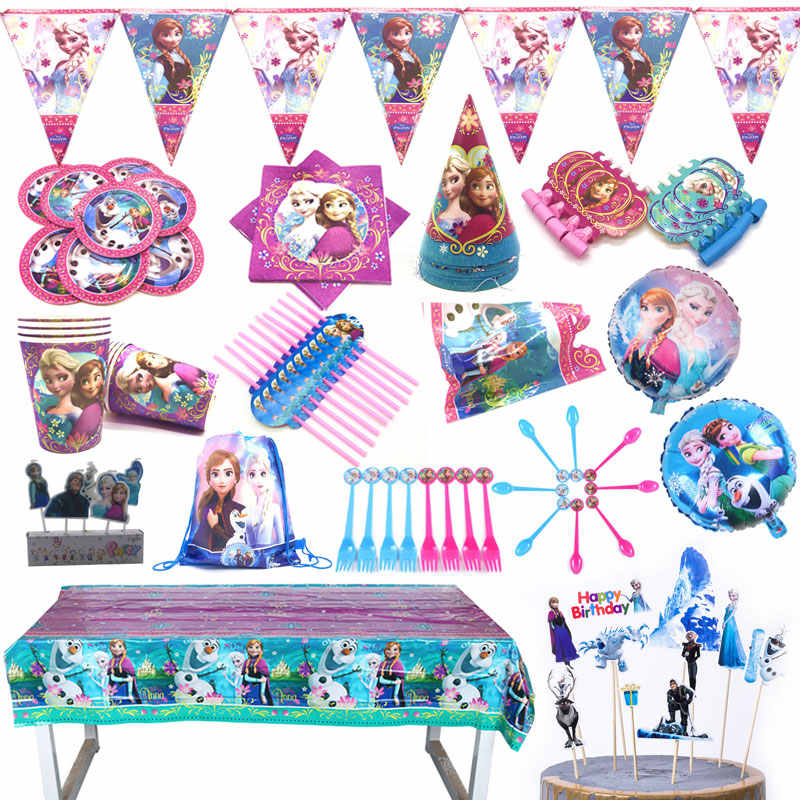 Party supplies disposable tableware Disney Frozen Anna and Elsa Princess birthday party Decorations Tablecloth Plates Cups Flags