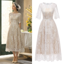 Real photo lace vintage champagne tea length bridal gown bridesmaid dress wedding dress factory price