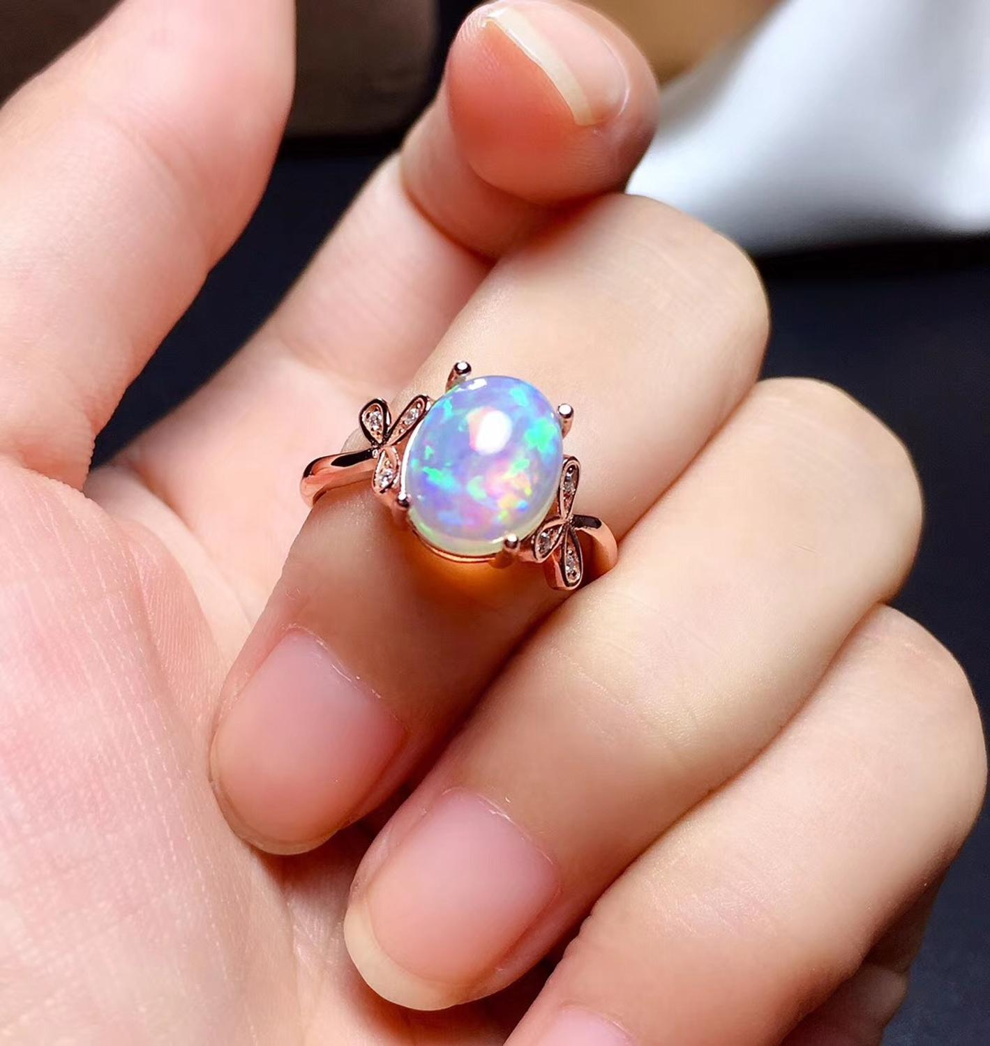 Natural opal woman rings change fire color mysterious 925 silver Various color gemstones