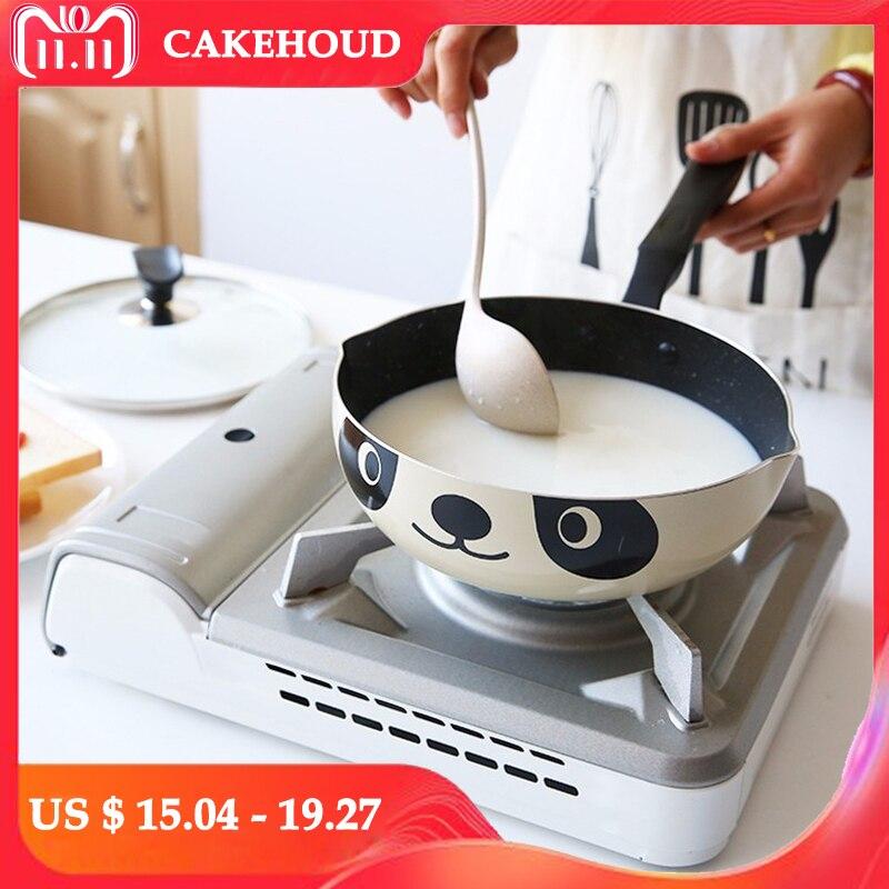 Cakehoud 20cm24cm26cm panda pote estilo japonês fogão de indução universal frigideira antiaderente panela de alumínio frigideira panela de pedra