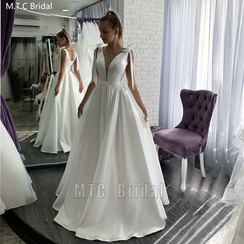Wholesale White Long Wedding Dresses With Bows Corset Back A Line Plus Size Wedding Party Dress For Bridal Vestido De Noiva