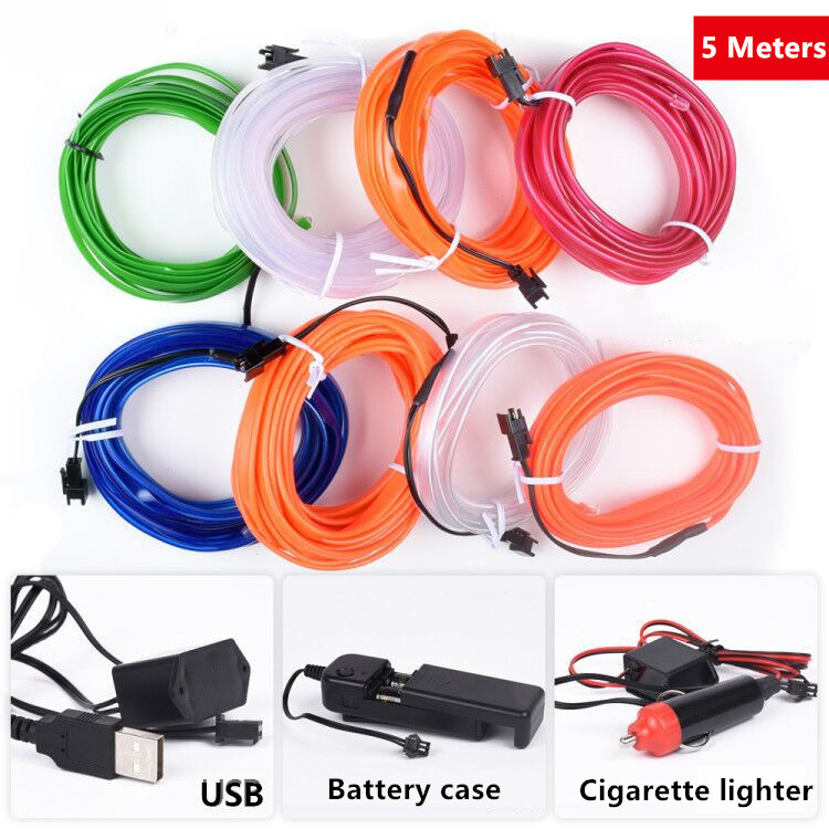 5 Meters 12V DIY Car EL Wire Rope light Interior Auto USB LED Strip Lighting Atmosphere Decorative Lamp Flexible Neon Light image