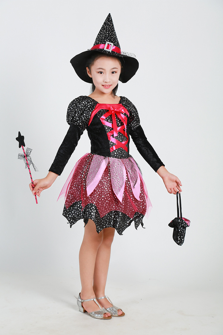 2017ins Halloween Children Women's Witch Wizard Cloak Skirt Cosplay Magician Table Performing Costumes Set