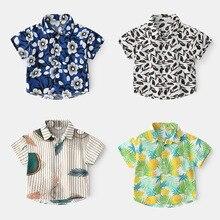 2-7T Toddler Kid Baby Boy Girls Clothes Short Sleeve Floral Shirt Boho Beach Print Party Gentleman Summer Vacation Boys Shirt