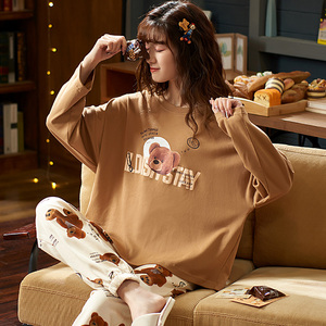 Image 4 - M L XL XXL 3XL 4XL 5XL uzun kollu kadın kıyafeti pijama 100% pamuklu gecelik setleri sonbahar pijama kadın pijama
