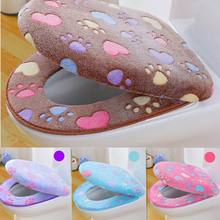 Bathroom Toilet Seat Cover Set Thicken Soft Coral Universal Zipper Toilet Case Warm Waterproof WC Potty Cover Closure Design
