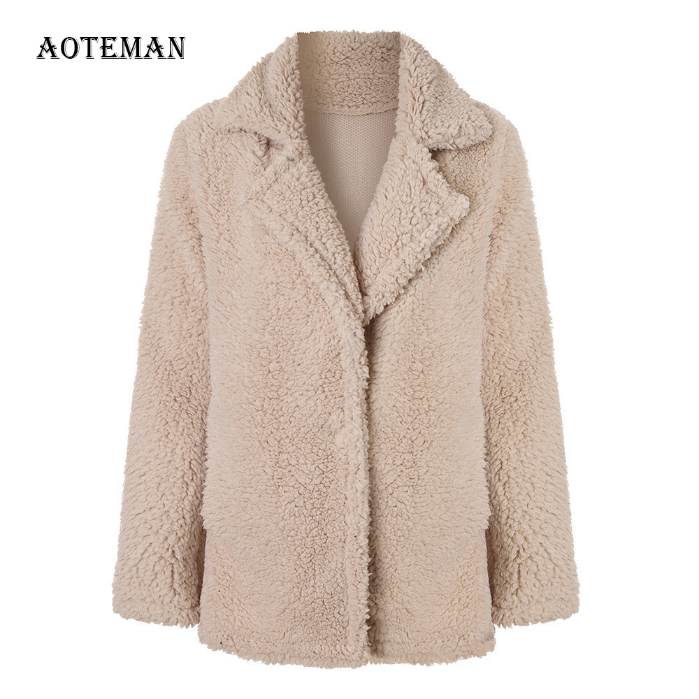 Autumn Winter Faux Fur Coat Women 2019 Casual Plus Size Loose Teddy Coat Turn-down Collar Fur Jackets Female Thick Warm Outwear