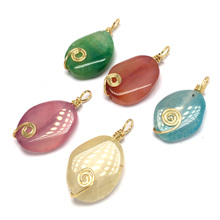 LE SKY Natural Stone Quartz Necklace & Pendant Goldcolor Tree of Life Wire Wrapped Water Drop Pendant Necklace Stain Steel Chain цена 2017
