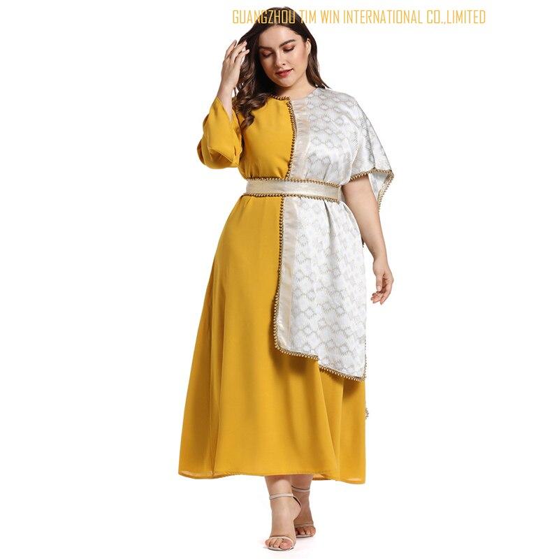 Vestidos женское платье большого размера желтое платье трапециевидной формы с круглым вырезом лоскутное кимоно рукав Модное платье Бандажное платье 2019 Toleen бренд - 2