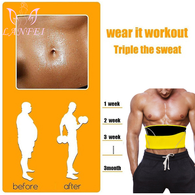 LANFEI Men Waist Trainer Belts Sauna Slimming Body Shapers Girdle Neoprene Workout Sweat Belly Trimmer Corset for Weight Loss 2