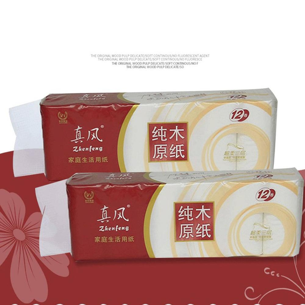 Original Wood Pulp Household Paper Roll Fine And Soft Without Fluorescent Agent Water Absorption Is Stronger 12 Pcs