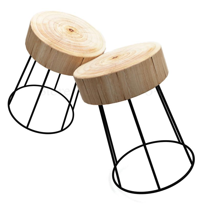 Nordic Minimalist Solid Wood Logs Simple Side Table Seating Corner Bedside Table Round Sofa Table Flower Stand Bedroom Side Tabl