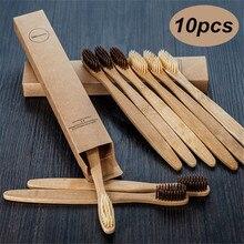 Bamboo Toothbrush Rainbow-Whitening Wooden Soft-Bristle Eco-Friendly Travel 10pcs