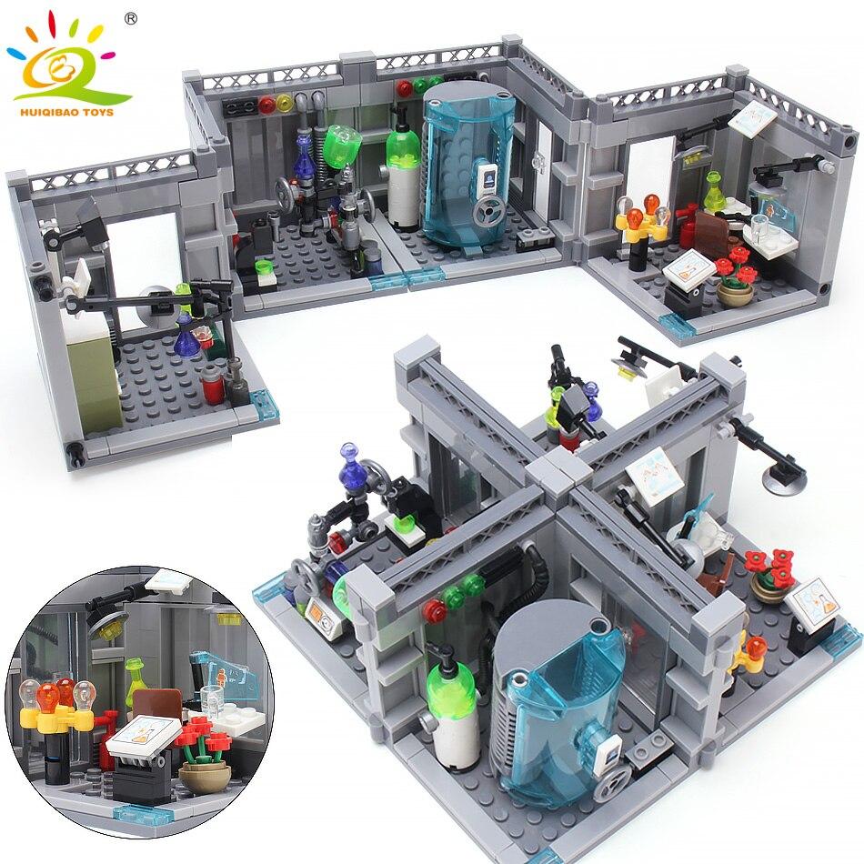 367pcs Laboratório de Bioquímica Da Polícia Blocos de Construção compatível legoing Cidade Criador Figuras modelo Educacional tijolos brinquedos para As Crianças