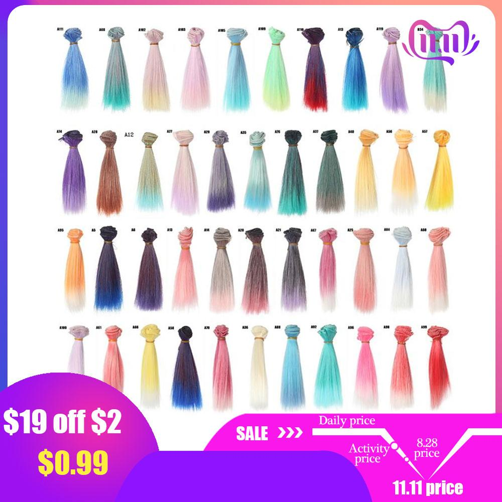 1pc 15x100cm Doll Accessories Straight Synthetic Fiber Wig Hair For Doll Wigs High-temperature Wire Hairs