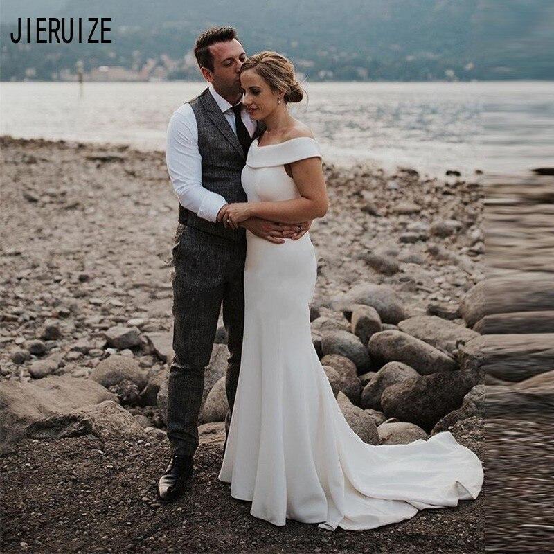 JIERUIZE Elegant Mermaid Wedding Dresses Off Shoulder Howllow Back Beach Wedding Gowns Ivory Bridal Dreeses Vestido De Noiva