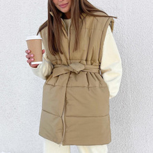 Fashion Shrug Solid Vests Women Elegant Collected Waisted Casual Coats Women Pockets Spring Stand Collar Vests Ladies