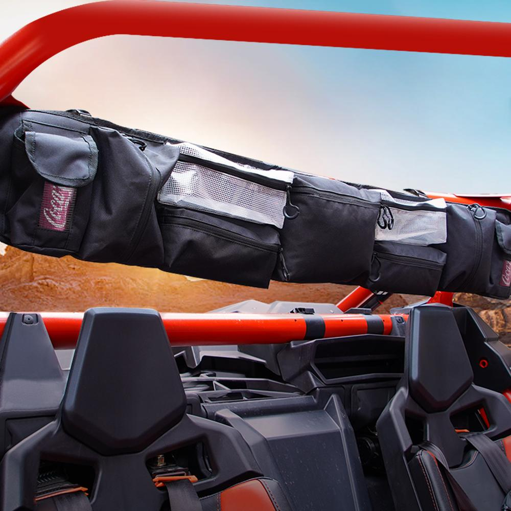 Black Quad Gear UTV Large Roll Cage Organizer Storage Bag For Polaris RZR Ranger For Can Am Maverick X3 For Yamaha