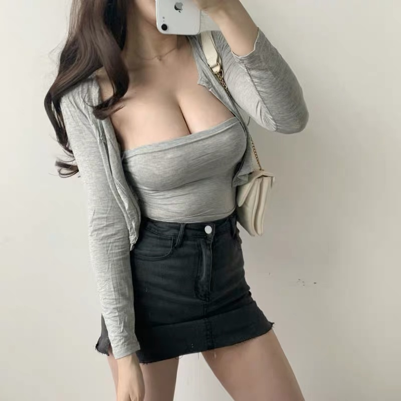 XIBANI Tight Elastic Sleeveless Off Shoulder Vest Sexy Short Single Breasted Cardigan Top Suit Two Piece Street Fashion Set
