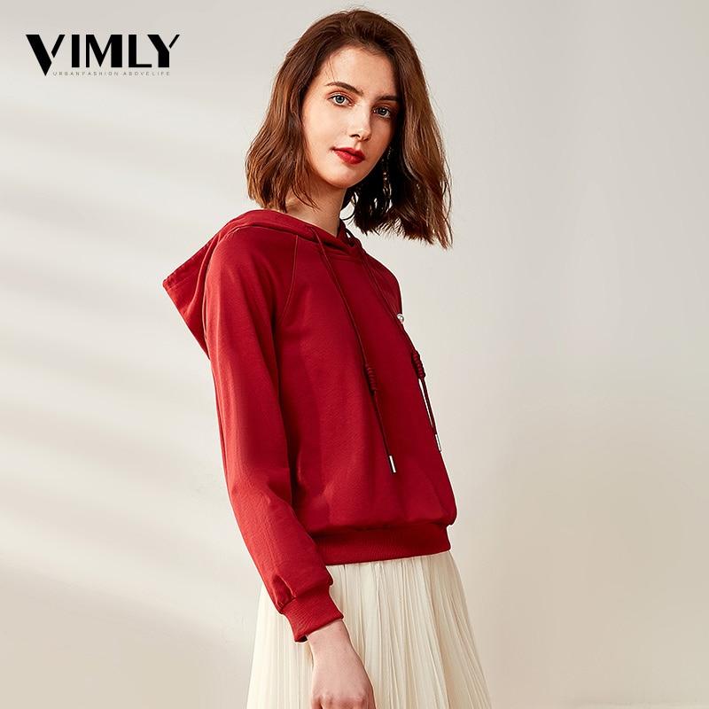 Vimly Spring Autumn Casual Women Hoodies Sweatshirts Female K-pop Solid Red Hoodie Streetwear Women Cotton Pullovers